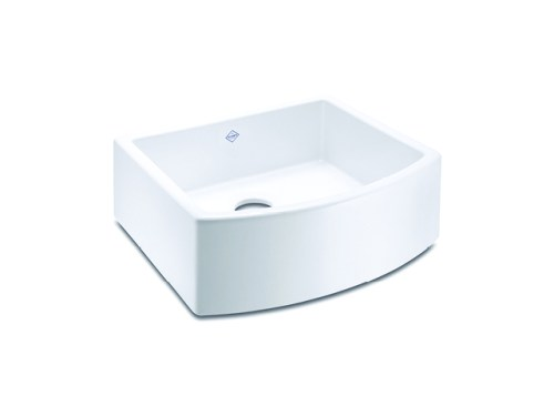 Shaws Waterside Sink. 600mm single bowl curved front fireclay butler sink by Shaws of Darwen, England. Imported and distributed in Australia by Luxe by Design, Brisbane.