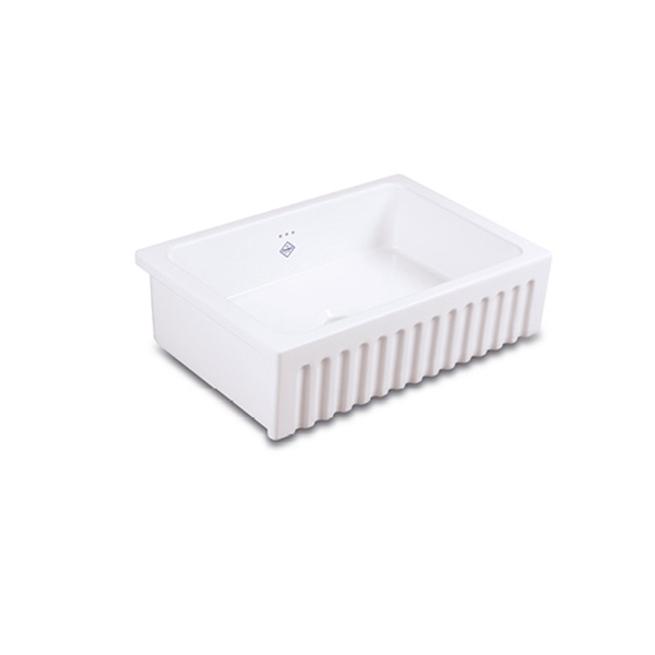 Shaws Bowland 600 Sink. 600mm fluted front fireclay butler sink by Shaws of Darwen, England. Imported and distributed in Australia by Luxe by Design, Brisbane.