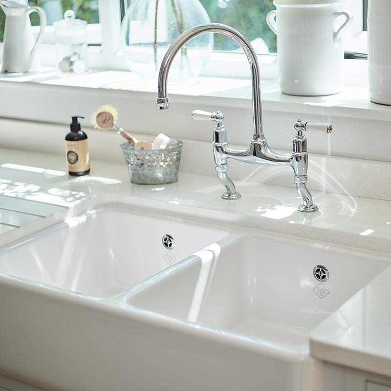 Shaws Double Bowl 800. 800mm fireclay butler sink by Shaws of Darwen, England. Imported and distributed in Australia by Luxe by Design, Brisbane.