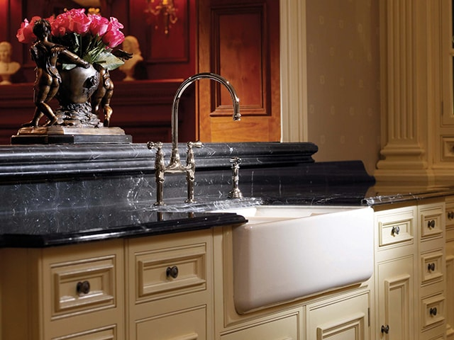 Shaws Edgworrth Sink. Dual bowl 1000mm flat front fireclay farmhouse butler sink by Shaws of Darwen, England. Imported and distributed in Australia by Luxe by Design, Brisbane.