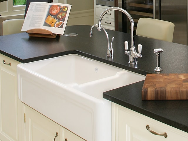 Shaws Egerton Sink. Dual bowl 1000mm pinstripe detail flat front fireclay farmhouse butler sink by Shaws of Darwen, England. Imported and distributed in Australia by Luxe by Design, Brisbane.