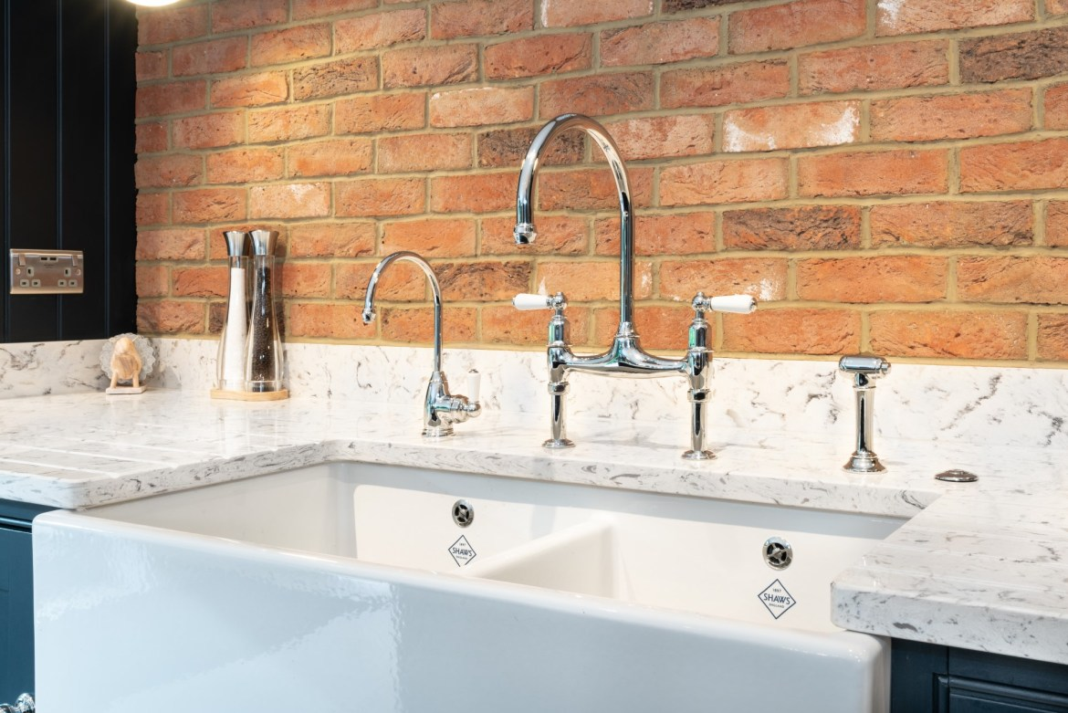 Shaws Shaker Double 800 fireclay sink. Kitcehn design by Nicholas Bridger Kitchens UK. Imported and distributed in Australia by Luxe by Design, Brisbane.