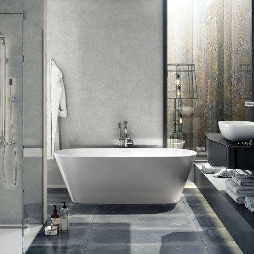 Victoria + Albert Vetralla 2 matte white stone bath, distributed in Australia by Luxe by Design, Brisbane.