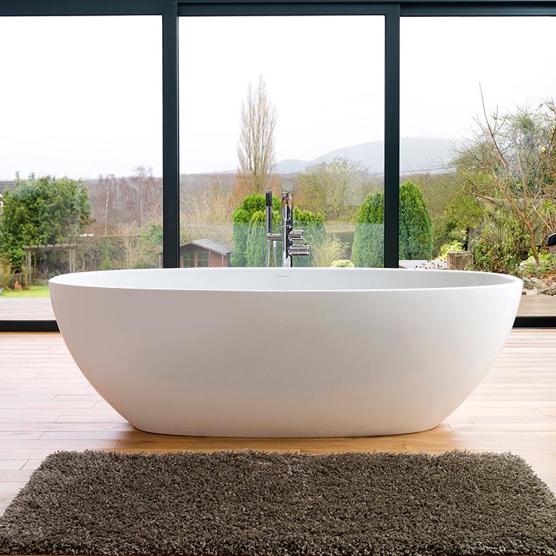 Victoria + Albert Barcelona 3 matte white stone oval bath, distributed in Australia by Luxe by Design, Brisbane.