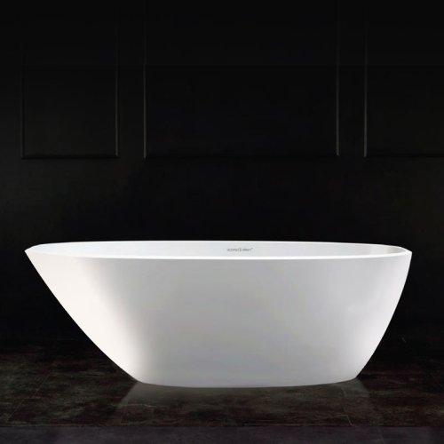 Victoria + Albert Mozzano 2 matte white stone angled bath, distributed in Australia by Luxe by Design, Brisbane.