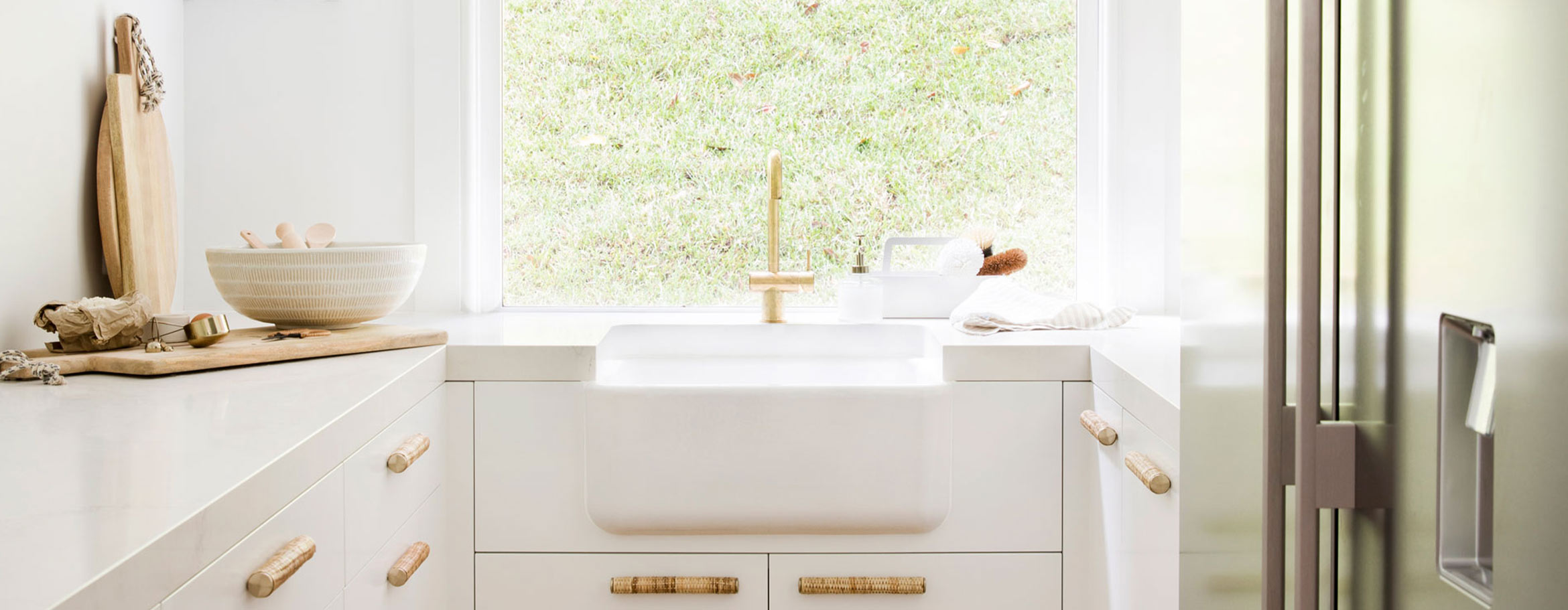 Shaws Butler sink in laundry of House 10 by 3 Birds Renovations. Sinks imported and distributed by Luxe by Design, Brisbane.