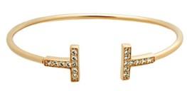 Gold Tiffany T Bracelet Dupes With Zircon