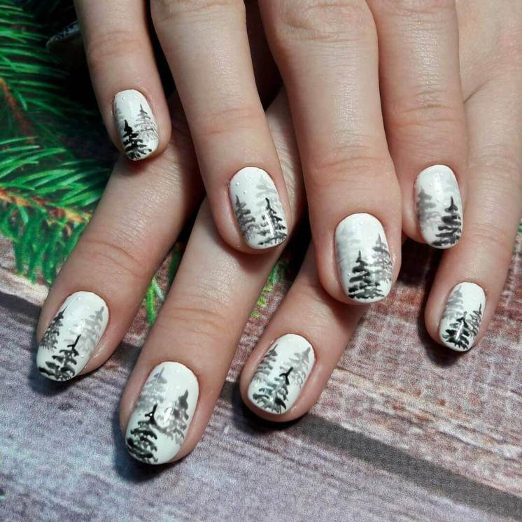New Year's Manicure Floristic design