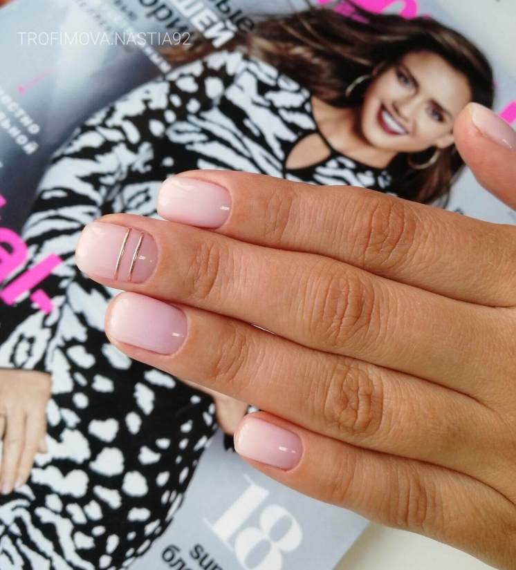 Pink on short nails