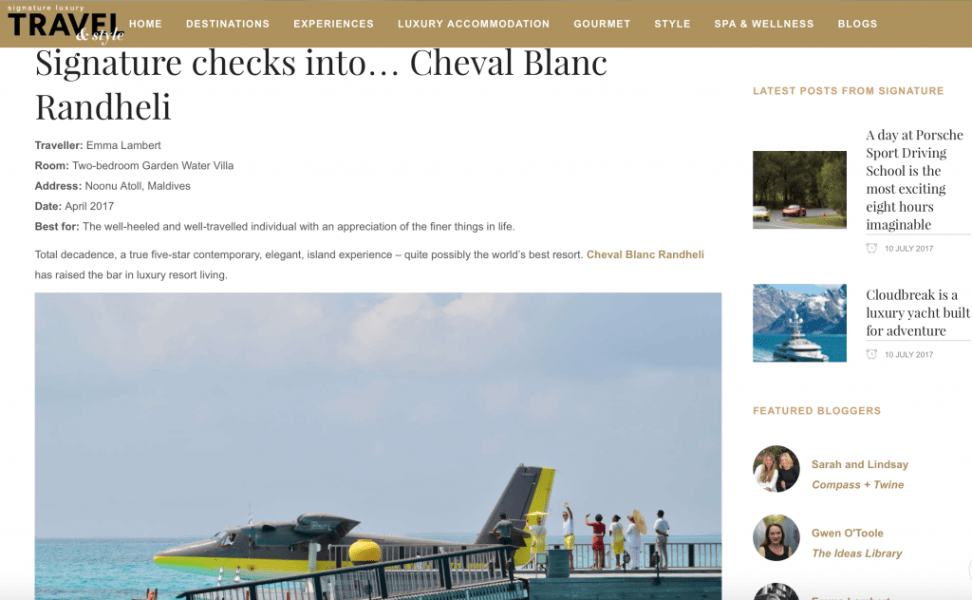 Cheval Blanc Randheli review for Signature Luxury Travel and Style