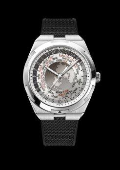 World Time Overseas cadran gris7700V-110A-B129bracelet caoutchouc