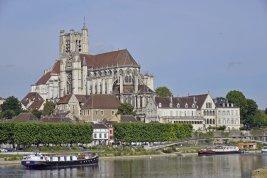 France; Canal du Nivernais; L'Art de Vivre; Cruising past Auxerre Cathedral
