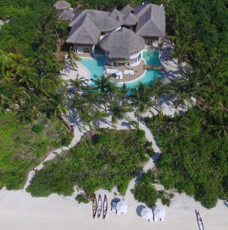 LuxeGetaways - Luxury Travel - Luxury Travel Magazine - Luxe Getaways - Luxury Lifestyle - Luxury Villa Rentals - Affluent Travel - Soneva Jani Water Villas - Medhufaru Island - Republic of Maldives - aerial view of villa compound