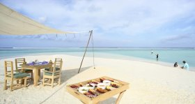 LuxeGetaways - Luxury Travel - Luxury Travel Magazine - Luxe Getaways - Luxury Lifestyle - Luxury Villa Rentals - Affluent Travel - Soneva Jani Water Villas - Medhufaru Island - Republic of Maldives - dining on beach
