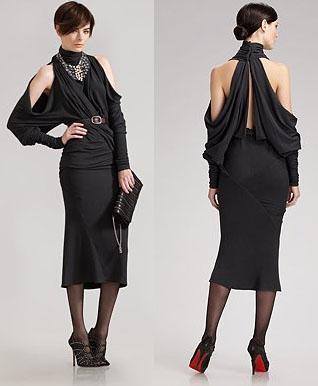 Donna karan Belted cold-shoulder dress