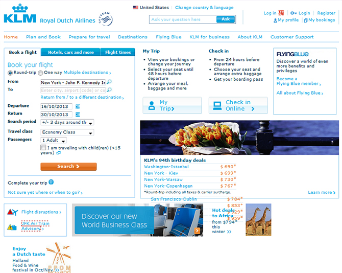 KLM Airlines Website