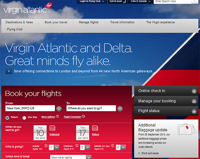 Virgin Atlantic Airline Website
