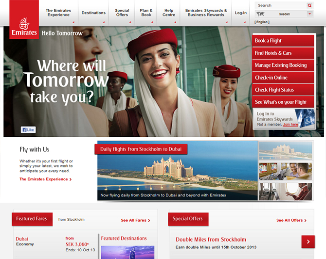 Emirates Airline Website