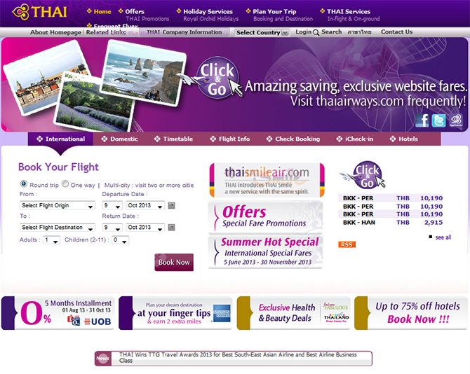 Thai Airways  Website