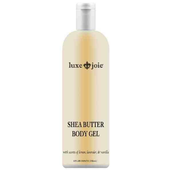 shea butter body gel on white background