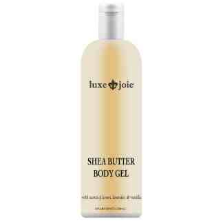 shea butter body gel on white background