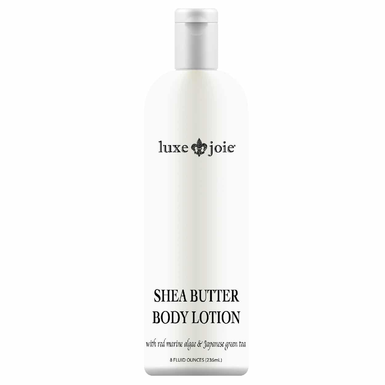 shea butter body lotion on white background