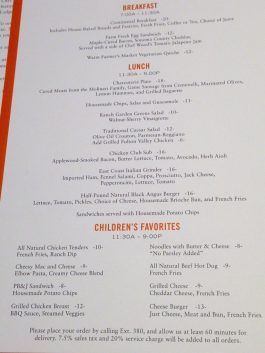 Carmel Valley Ranch Kids Menu
