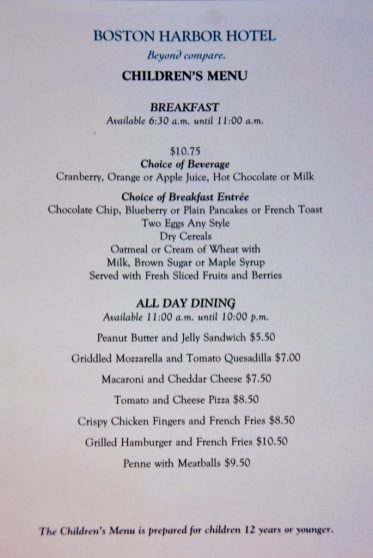 Boston Harbor Kids' Room Service Menu