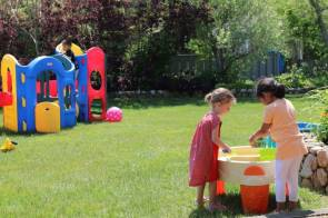 Some water table play at the Winnetu kids' club