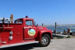 Fire truck rides to the docks at the Winnetu