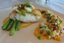An incredible halibut and succotash from the Dunes at the Winnetu