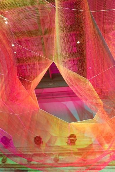 A detail of Janet Echelman's weaving