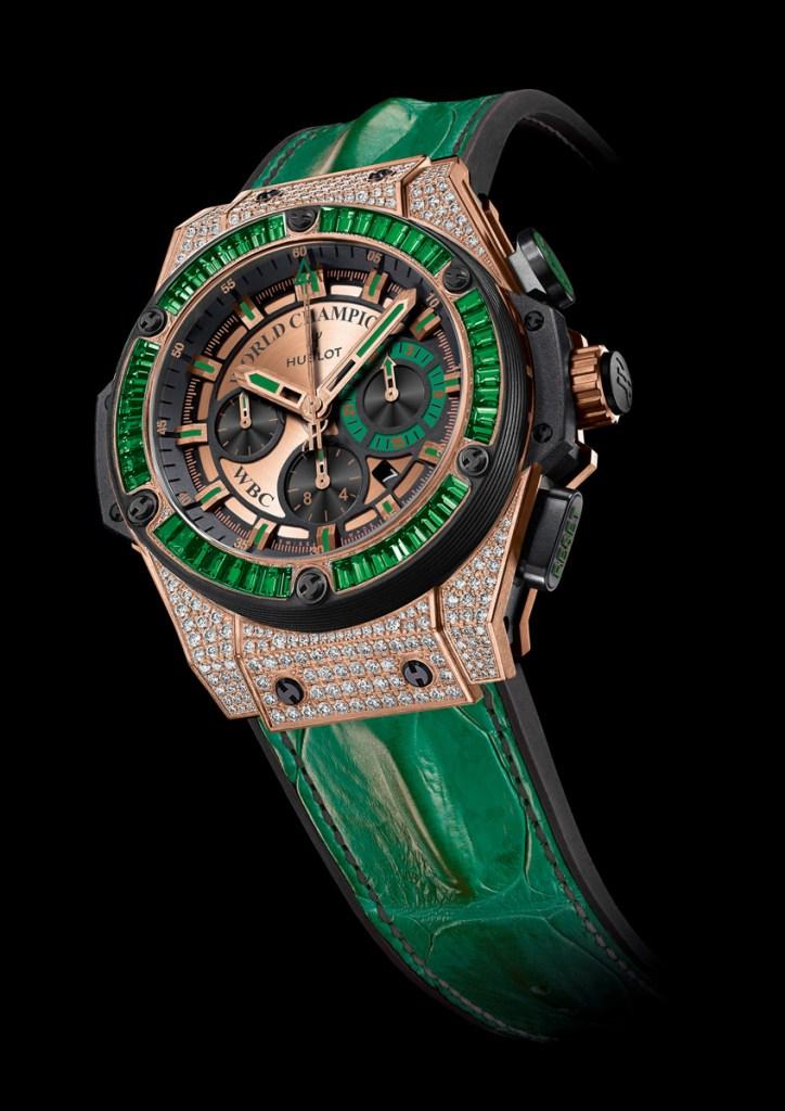 Hublot King Power WBC Full Pavé with Emeralds replica