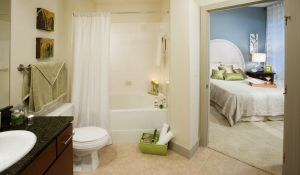 Bathroom Bedroom at 2929 Wycliff Apartments in Uptown Dallas TX Lux Locators Dallas Apartment Locators
