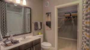 Bathroom Closet at Moda Victory Park Apartments in Uptown Dallas TX Lux Locators Dallas Apartment Locators