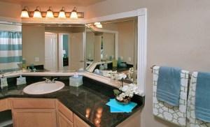 Bathroom Mirror at Riviera at West Villiage Apartments in Uptown Dallas TX Lux Locators Dallas Apartment Locators