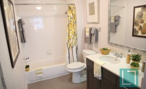 Bathroom Shower at Gallery at Turtle Creek Apartments in Uptown Dallas TX Lux Locators Dallas Apartment Locators