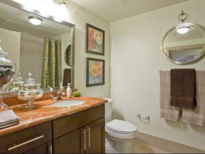 Bathroom at The Monterey by Windsor Apartments in Uptown Dallas TX Lux Locators Dallas Apartment Locators