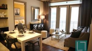 Dining Living Room at L2 Uptown Apartments in Uptown Dallas TX Lux Locators Dallas Apartment Locators