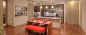 Dining Room Kitchen at Alara Uptown Apartments in Uptown Dallas TX Lux Locators Dallas Apartment Locators