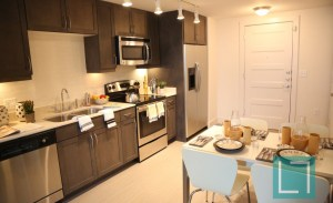 Kitchen Dining Room at Gallery at Turtle Creek Apartments in Uptown Dallas TX Lux Locators Dallas Apartment Locators