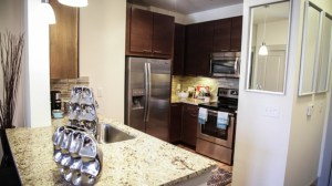Kitchen at Berkshire Medical District Apartments in Uptown Dallas TX Lux Locators Dallas Apartment Locators