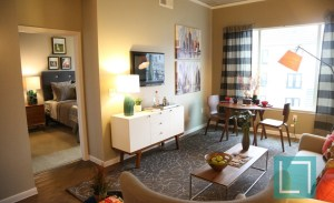 Living Room Bedroom at Gallery at Turtle Creek Apartments in Uptown Dallas TX Lux Locators Dallas Apartment Locators