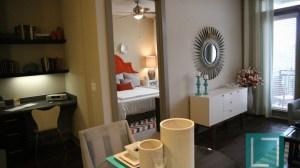 Living Room Bedroom at L2 Uptown Apartments in Uptown Dallas TX Lux Locators Dallas Apartment Locators