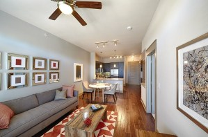 Living Room at Strata Apartments in Uptown Dallas TX Lux Locators Dallas Apartment Locators
