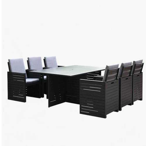 tomorrow cube 6 seater dining set charcoal slate