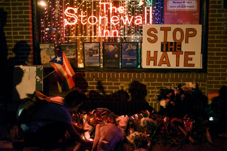 Memorial outside The Stonewall Inn, considered by many the center of New York's gay rights movement, following Pulse Orlando massacre, Manhattan, June 12, 2016.
