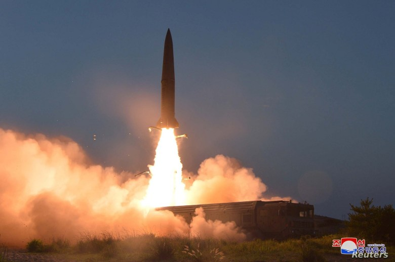 A view of North Korea's missile launch Thursday, in this undated picture released by North Korea's Central News Agency, July 26, 2019.
