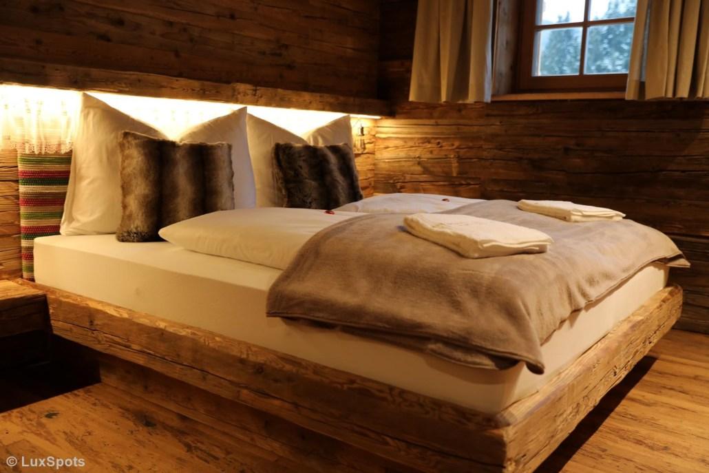 Doppelbetten im Alm-Chalet Prechtlgut