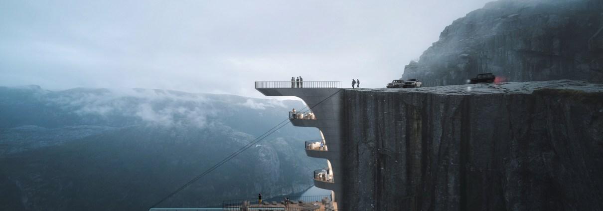 Blick auf das Konzept Klippen-Boutique-Hotel in Norwegen